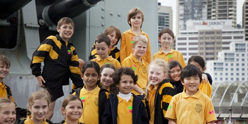 Primary school students during their tour of the navy destroyer HMAS VAMPIRE.