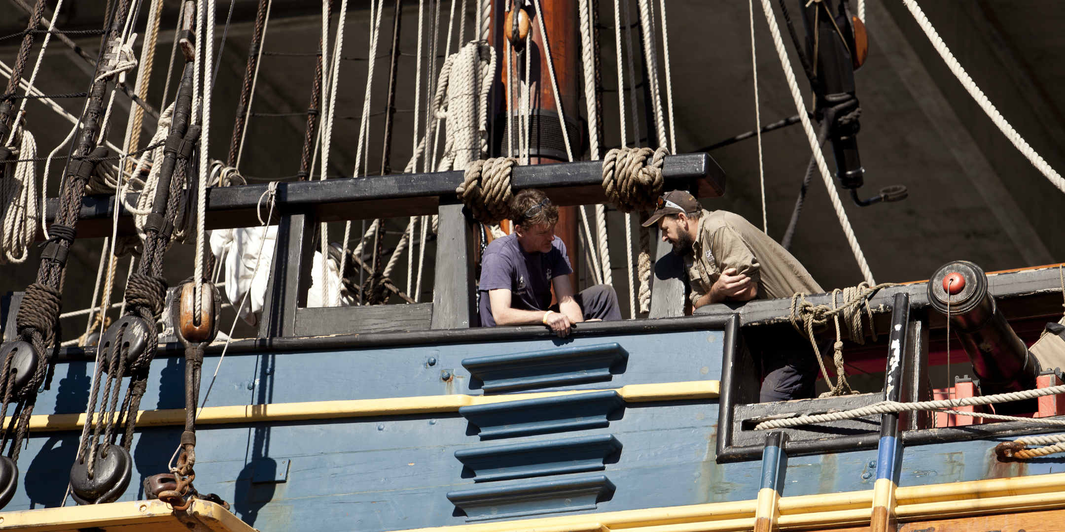 Replica tall ship HMB ENDEAVOUR out of water for its regular refit.