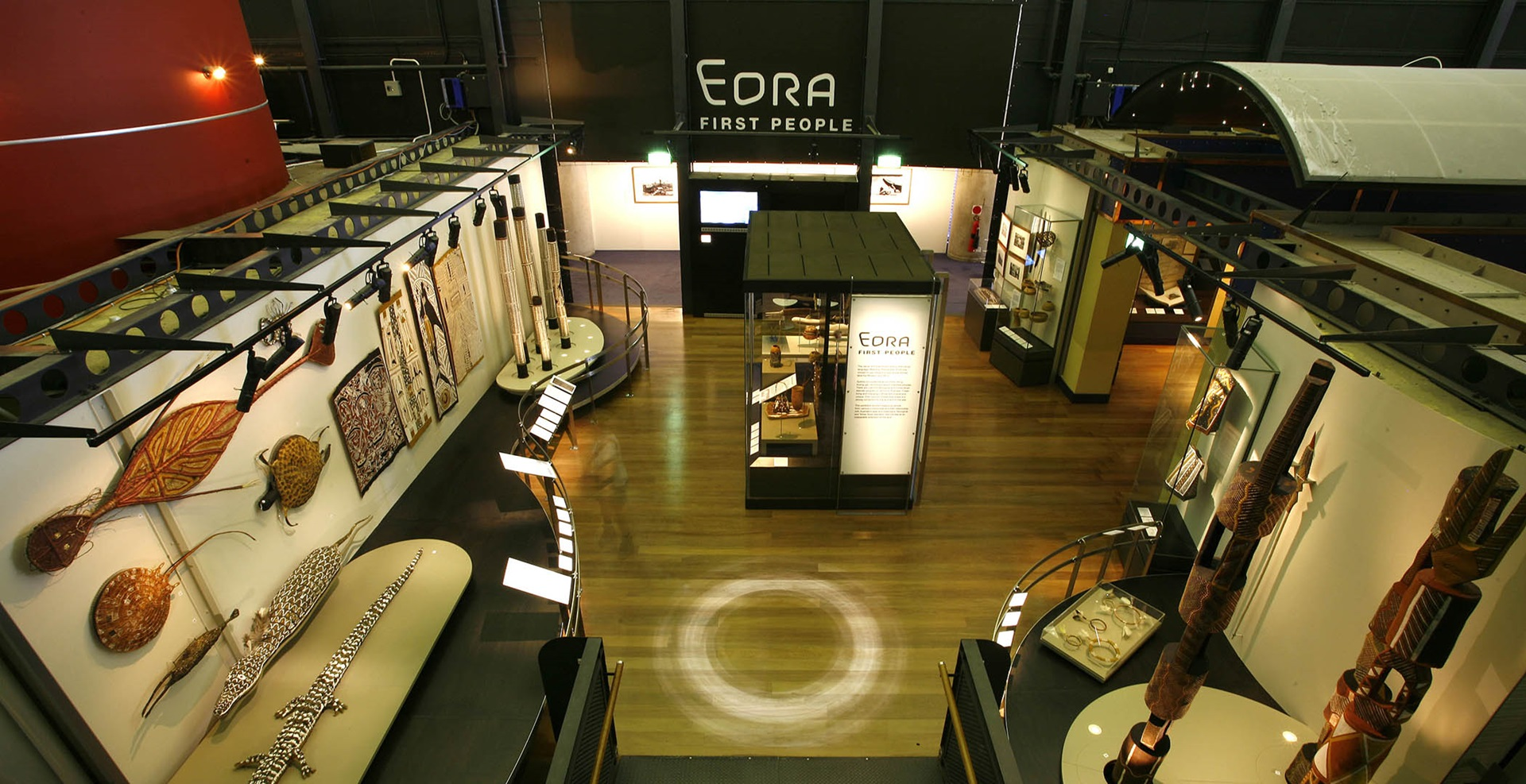 Birds-eye view of the Eora First People exhibition space at the museum