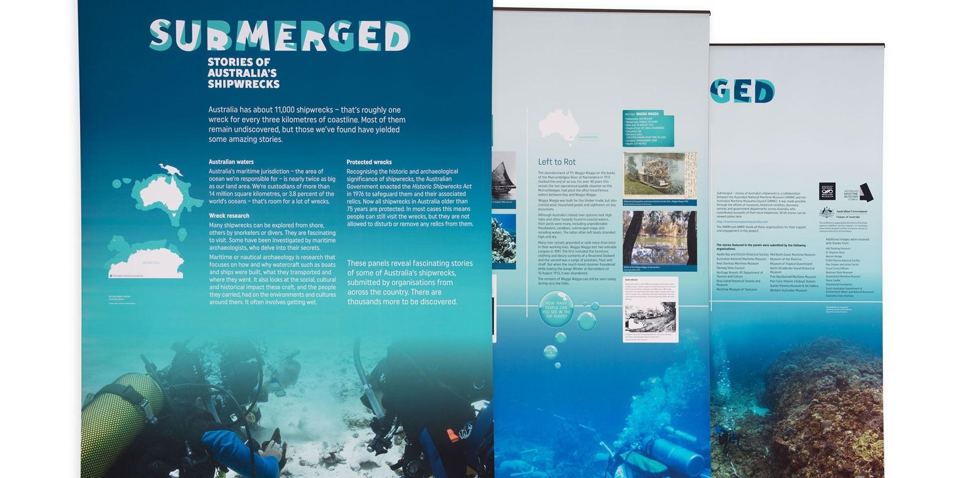 Banner exhibition Submerged: stories of Australia's shipwrecks